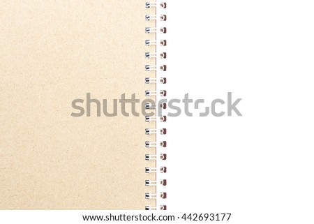 Opened note book isolated white background