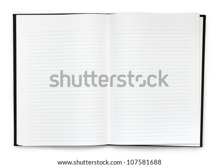 Opened note book on white background