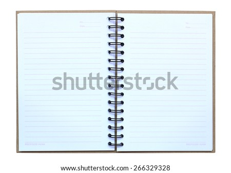 Opened note book on white background - stock photo
