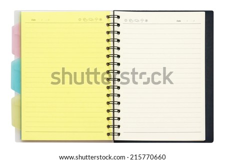 Opened note book with ring binder holes isolated on white, open two face, clipping path - stock photo