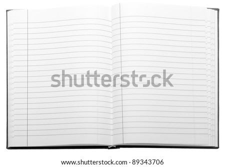 Opened notebook isolated on white background - stock photo