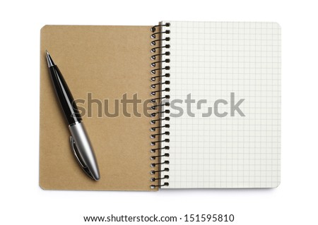 Opened notepad and pen on white background - stock photo