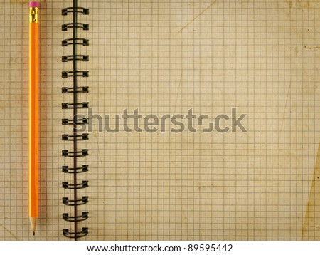 Opened notepad notebook sheet in a cage with single pencil