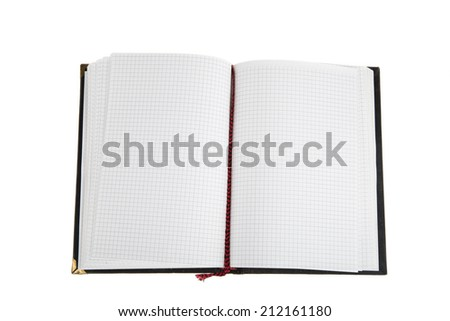Opened notepad on white background. Personal organiser - stock photo