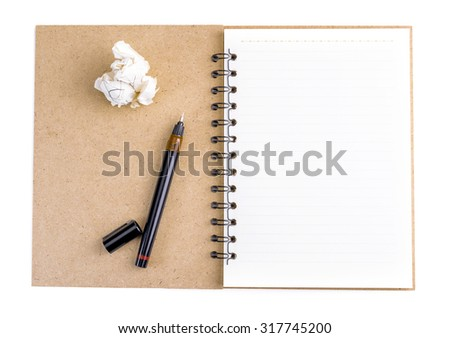 Opened notepad, pen and crumpled paper on white background - stock photo