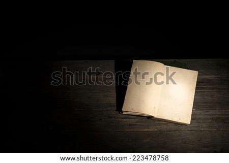 Opened old and yellowed blank book  - stock photo
