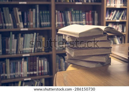 Opened old book in vintage image  - stock photo