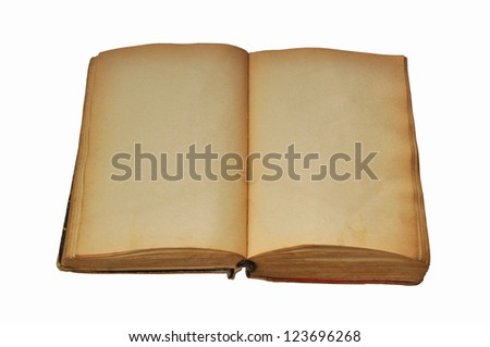 Opened old book with blank pages isolated on white background - stock photo