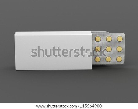 opened package of pills on an empty gray background for design - stock photo