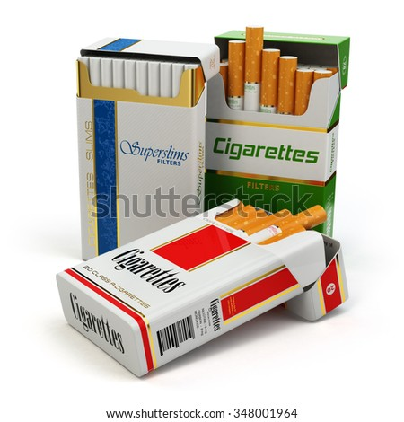 Opened packs of cigarettes isolated on white. 3d - stock photo