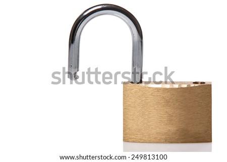 Opened padlock on white background - stock photo