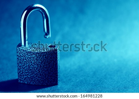 Opened padlock. Security concept. - stock photo