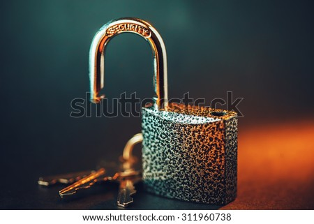 Opened padlock with keys. Security concept. - stock photo