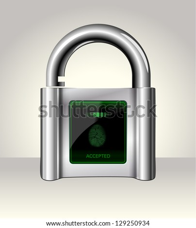Opened padlock with touch Screen,data security concept - stock photo