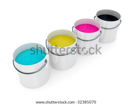 Opened paint buckets with base colours