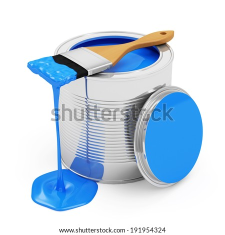 Opened Paint Can with Paintbrush isolated on white background - stock photo