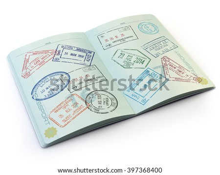 Opened passport with visa stamps on the  pages isolated on white. 3d - stock photo