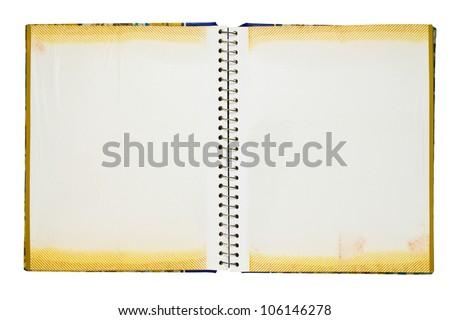 Opened photo album isolated on white background - stock photo
