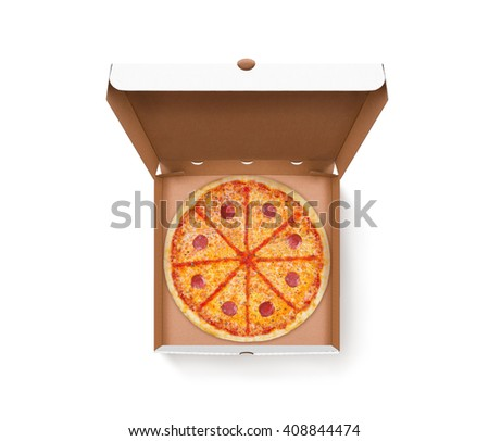 Opened pizza box with tasty pizza design mock up top view isolated. Carton packaging food box delivery clear mockup. Cardboard meal box template. Open food brown box presentation. Pizzeria box. - stock photo