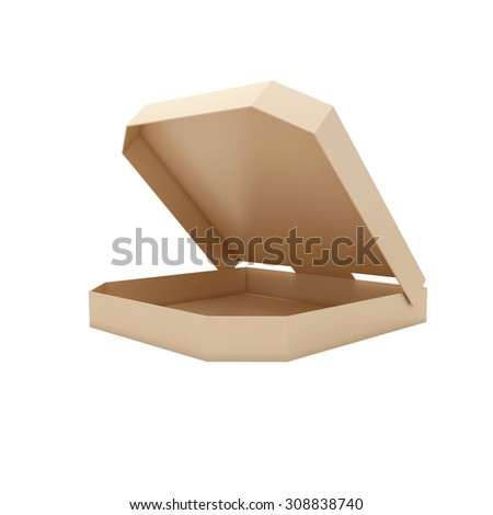 Opened pizzas boxes isolated at white background. 3d render illustration