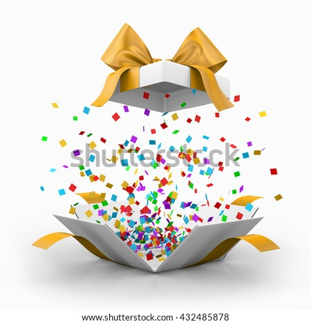 Opened realistic gift box with yellow bow and confetti. gift box 3d rendering - stock photo