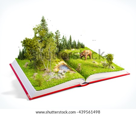 Opened red book with wild forest and bear on pages. Endangered-species list. Unusual 3D illustration. Isolated - stock photo