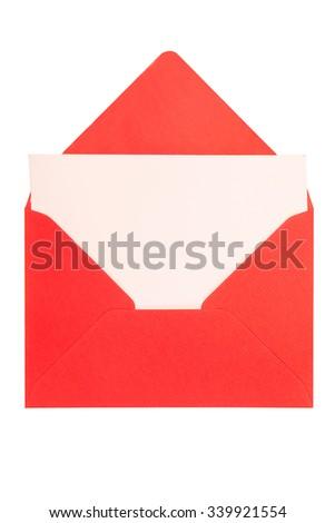 opened red envelope isolated on white background - stock photo