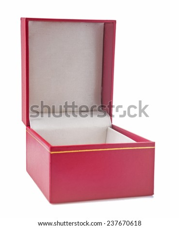 opened red gift box covered with soft textured leather isolated
