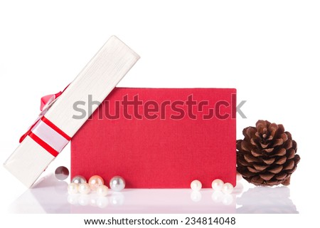 Opened red gift box with accessories isolated white background. - stock photo
