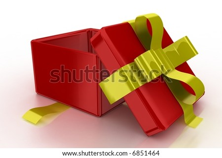 opened red gift with gold ribbon