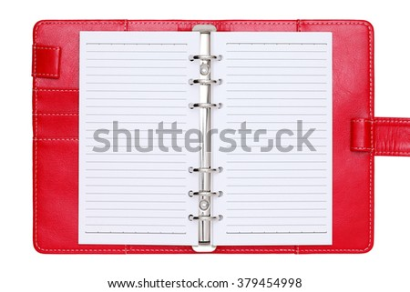 opened red leather notebook isolated on a white background  - stock photo