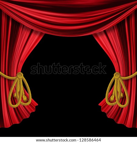 Opened red theater drapes, curtains on black background. - stock photo