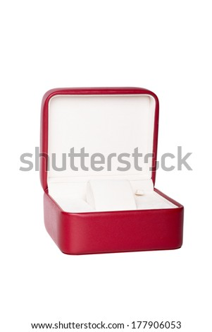 Opened red watch box on white background