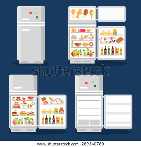 Opened refrigerator with food in flat style. Fridge open, food and vegetable, fresh and ice cream - stock photo