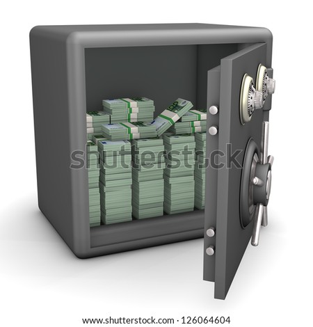 Opened safe with euro notes. White background.
