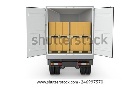 Opened semi-trailer with carton boxes inside isolated on white background