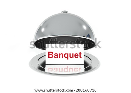 opened silver cloche with white sign banquet isolated - stock photo