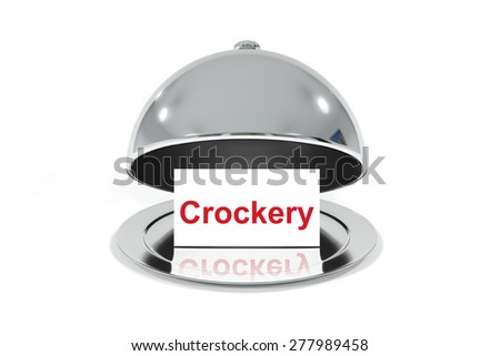 opened silver cloche with white sign crockery isolated - stock photo
