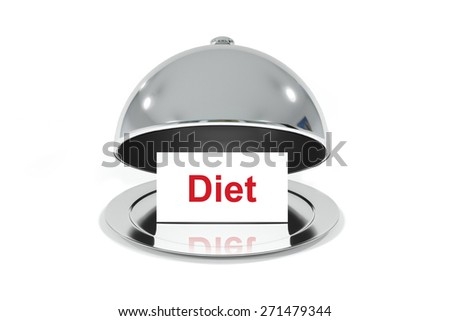 opened silver cloche with white sign diet isolated - stock photo