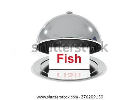opened silver cloche with white sign fish isolated - stock photo