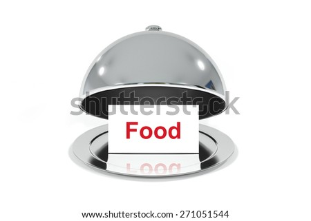 opened silver cloche with white sign food isolated - stock photo