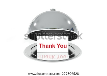 opened silver cloche with white sign thank you message illustration - stock photo