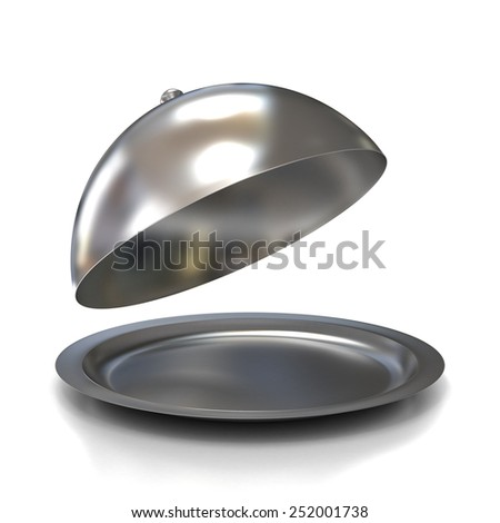 Opened Silver Serving Dome or Cloche Isolated on a White Background - stock photo