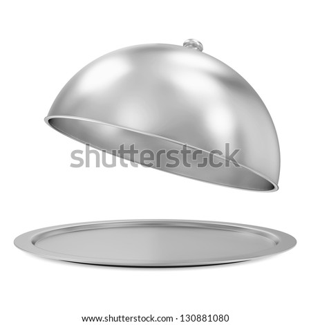 Opened Silver Tray isolated on white background - stock photo