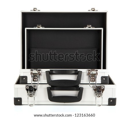 Opened silvery suitcases isolated on white