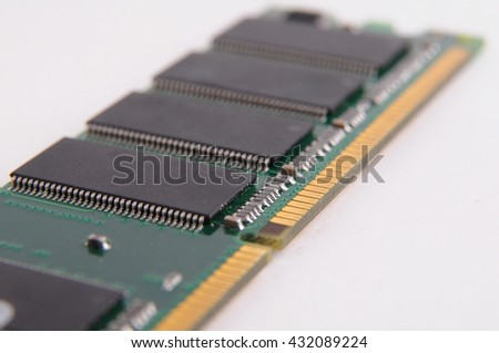 Opened solid state drive closeup on white background closeup details of computer memory (RAM) - stock photo