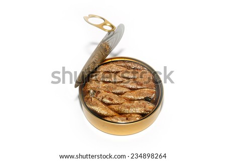 opened steel tank with fresh canned sprats - stock photo
