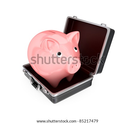 Opened suitcase and pink piggy bank inside. Isolated on white.