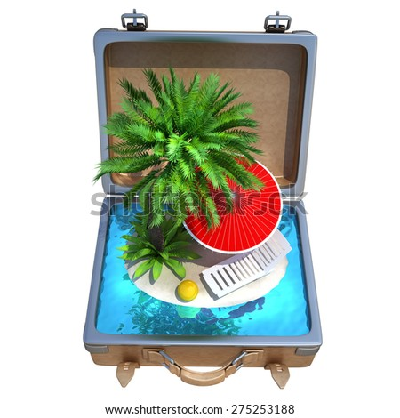 Opened Suitcase with a tropical beach inside isolated on white background. High resolution 3d