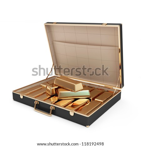 Opened Suitcase with Golden Bars inside isolated on white background